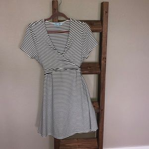 White with black stripes tie back dress